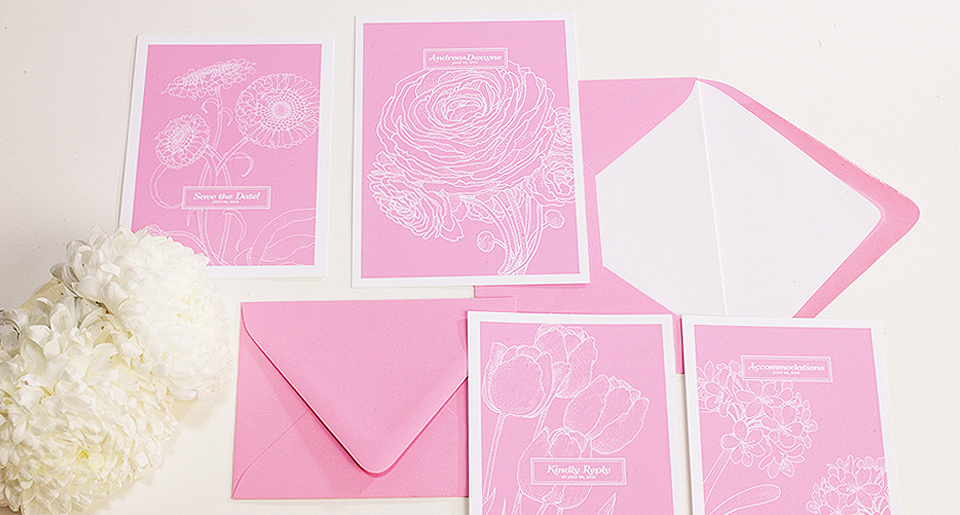 Spring inspired wedding invitations