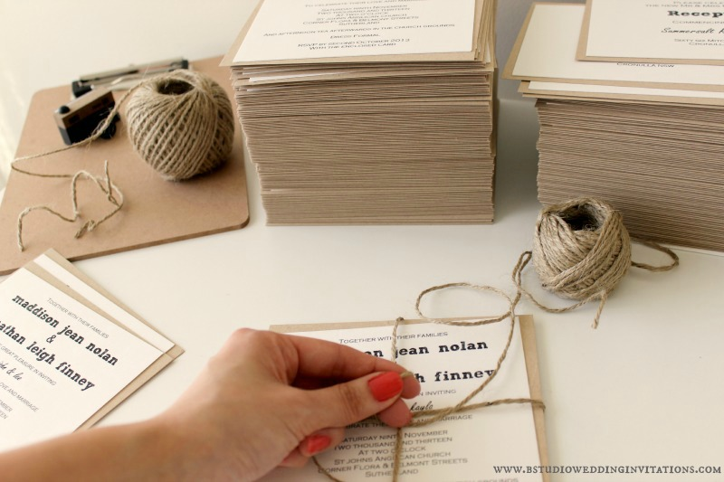 Invitations wrapped with twine