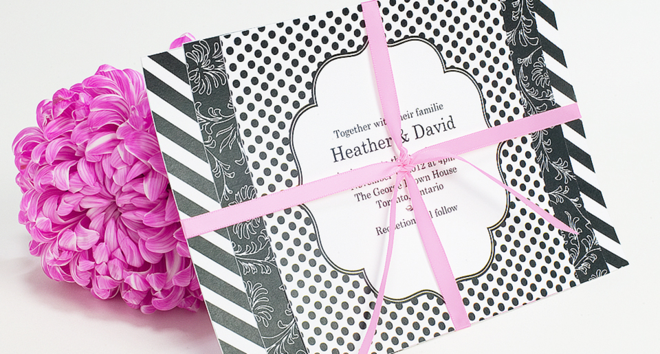 Wedding invitation with 3 patterns and ribbon