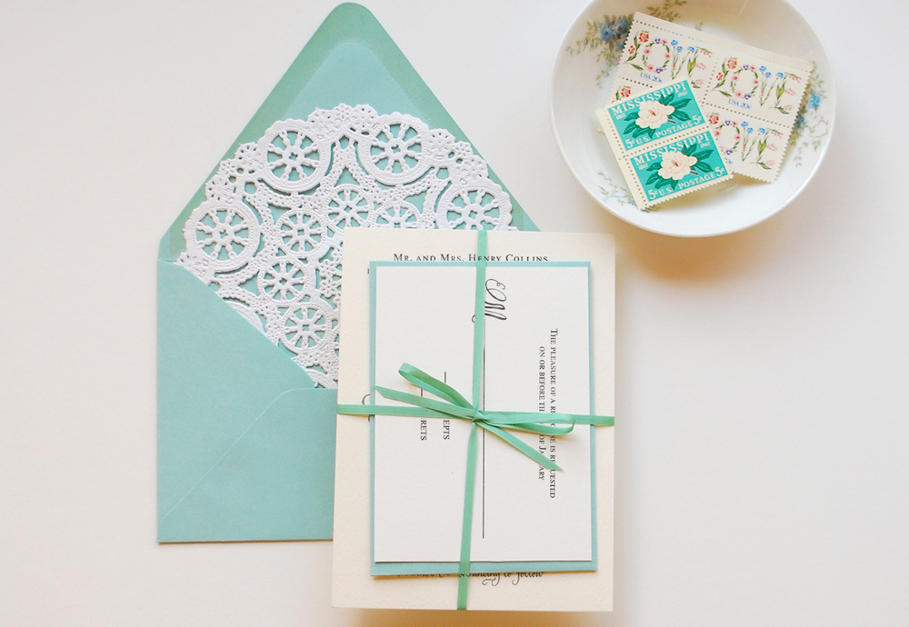 Invitation with thin ribbon to fit inside envelopes
