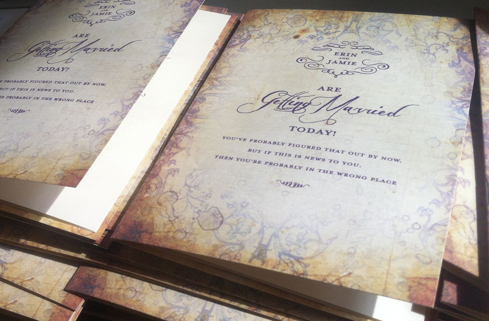 Blog carteblanche design erin and jamie kept their invitation wording simple but really pumped things up with the wording of their wedding programs stopboris Images