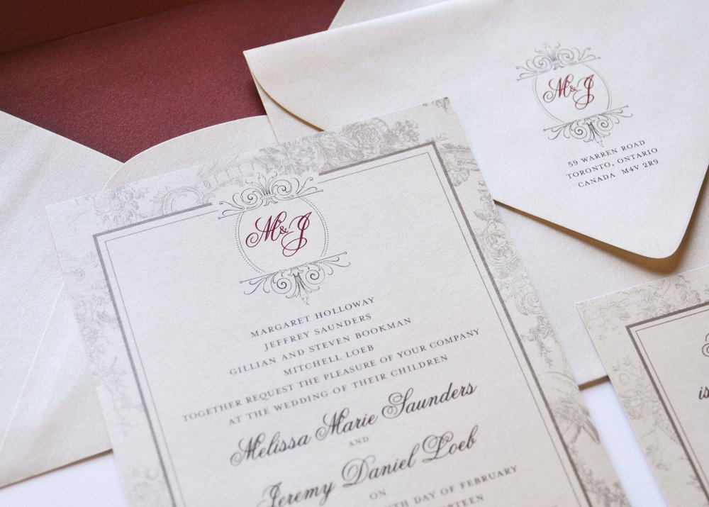 Melissa & Jeremy\'s Wedding Invitations — Carte Blanche Design