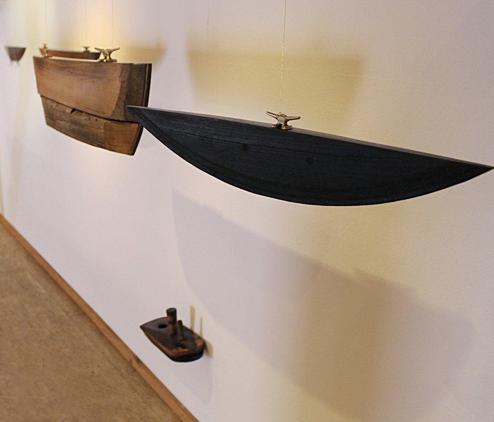 Noah's Flotilla Installation wine barrel wood 2015-16 Galerie Mehofer Austria