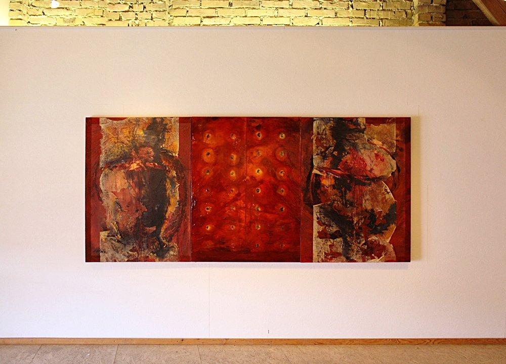 Requiem for Tiananmen mixed media on canvas 122x274cm 1998-2002   Mehofer Galerie.Austria 2016