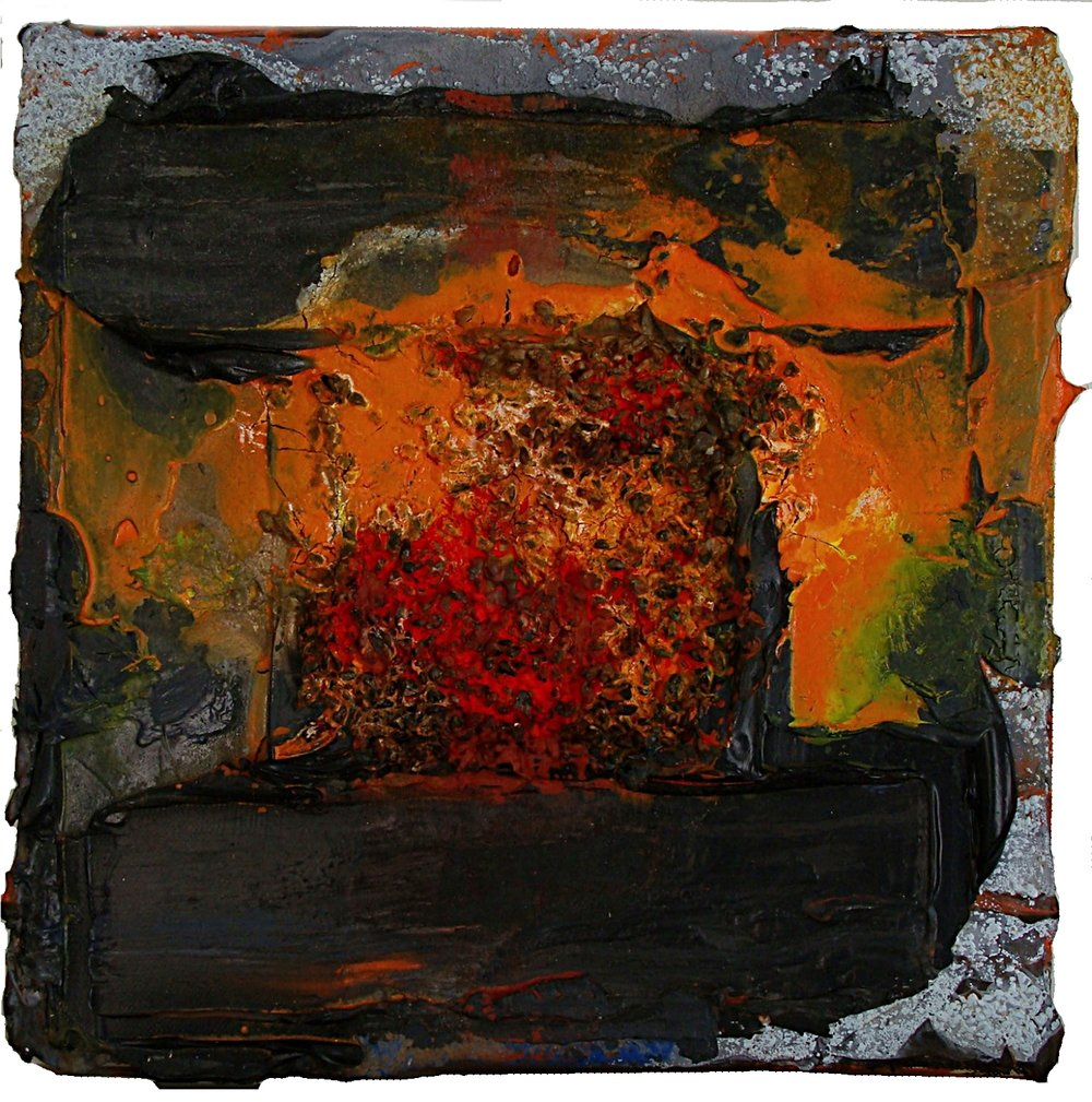 Orange seed mixed media on canvas 30x30cm 2009