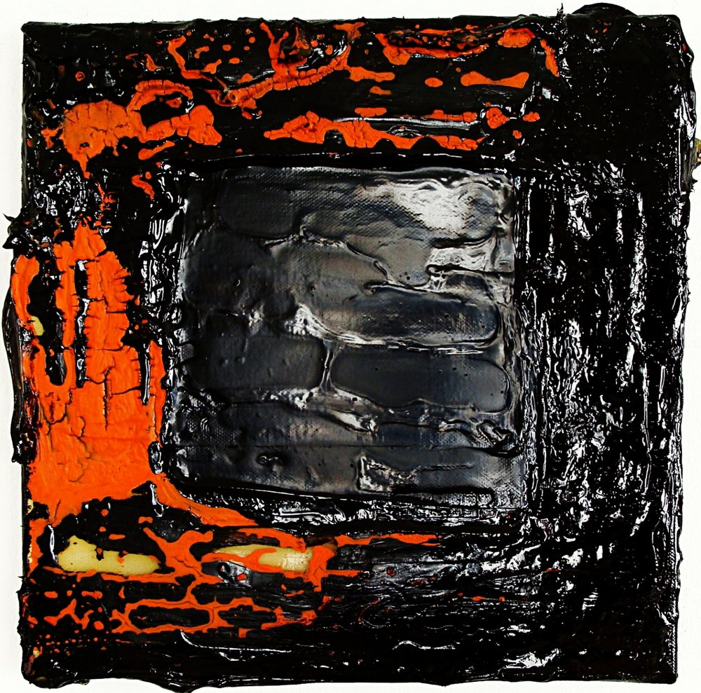 Orange and Black m/m on canvas 30x30cm 2009