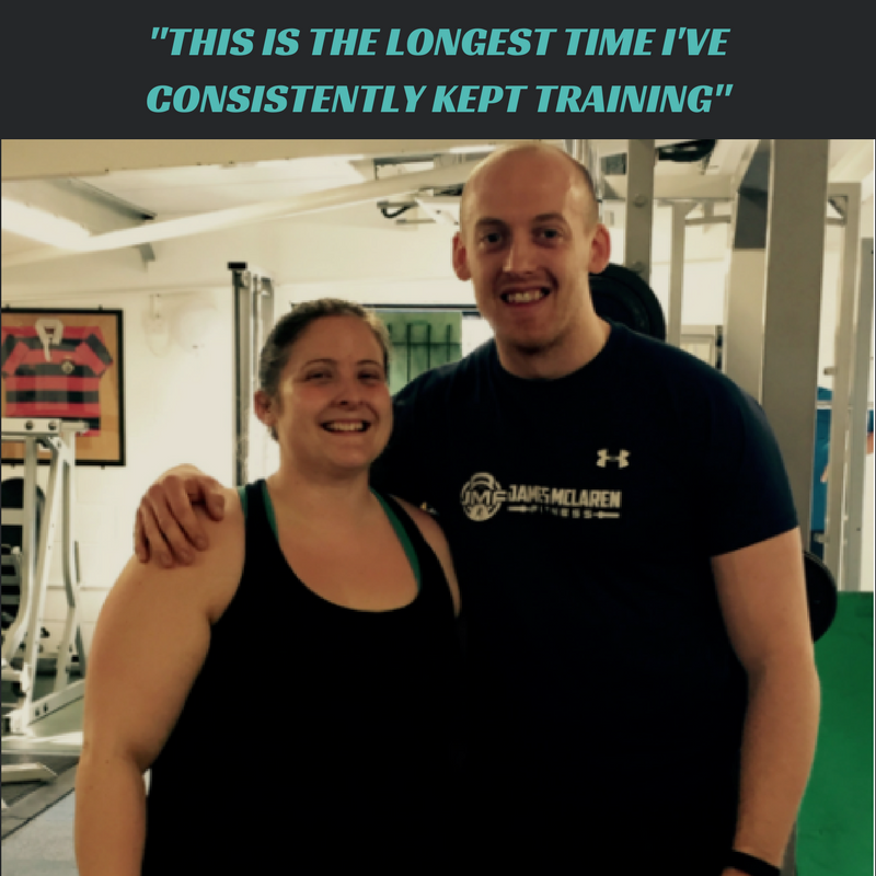 I've been training with James since October and have really enjoyed every minute of it!I've been going to the gym on and off for years, but after a few months I'd get bored and stop going.This is the longest time I've consistently kept training. I've been pushed and supported in doing things I would never have even thought about doing on my own and am so much stronger than I ever thought I could be.I've lost just over a stone and a half with James' support and my body feels so much healthier and stronger. Alongside the in gym training, he gives a lot of support outside too.Sessions are always good fun and James is always keen to demonstrate the latest dance move from MTV videos haha! Being able to train alongside other people in the group sessions is always a giggle and James seems up for taking a lot of stick in session whilst the heavy lifting is being done! Mixing upthe programme and learning different exercises every 4-6 weeks always has me pulling faces, but it keeps it interesting and it's good to see the progress week to week.For the first time I feel I may actually be able to reach my goals. - Nic Gower