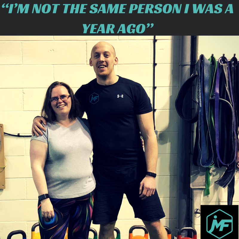 """I started working out with James just over 11 months ago. Can confidently say I have not regretted the journey I have had so far. I first spotted his Wonder Woman ad on FB and filled out his form on the spur of the moment. The next day I got a call from James and we spent the next hour on the phone going over what I might need from him. Having this talk made me face up to the fact that I had allowed my MS to start taking control of what I would do. I had subconsciously started to avoid doing certain things due to the foot drop that was starting to become more of an issue when going up stairs, or just walking around and ""tripping on things"" (There was nothing there to trip on, just hadn't picked my foot up far enough – lol) The first session I walked in with knots in my stomach wondering if I had made the right decision. The next day I ached like heck and decided I had probably made a mistake! I went back anyway and as the days passed the recovery became quicker with a lot less muscle ache. Changes started to happen pretty quick. It was around a month in when we were warming up that I suddenly realised I had been touching my toes (Little miracle there have to say!). I was lifting things I would not have thought possible and moving with way more confidence.I am still improving week on week (lifting a PB of 100kg on a deadlift this morning – go me!) and my appearance is becoming more toned. There is way less jiggle to me than I had before, which has boosted my self-esteem no end. :) I keep getting the comment that I am not the same person I was a year ago, which says a lot I think.With the help of James, and support from the others within the group I have lost 36lbs so far. But the weight is just a by-product of how much better and full of energy I am within myself.If you are sitting on the fence wondering if something like this is for you then hop down and contact this man – He works wonders no matter what you level of fitness/mobility (or lack of as was my case)!!!!"