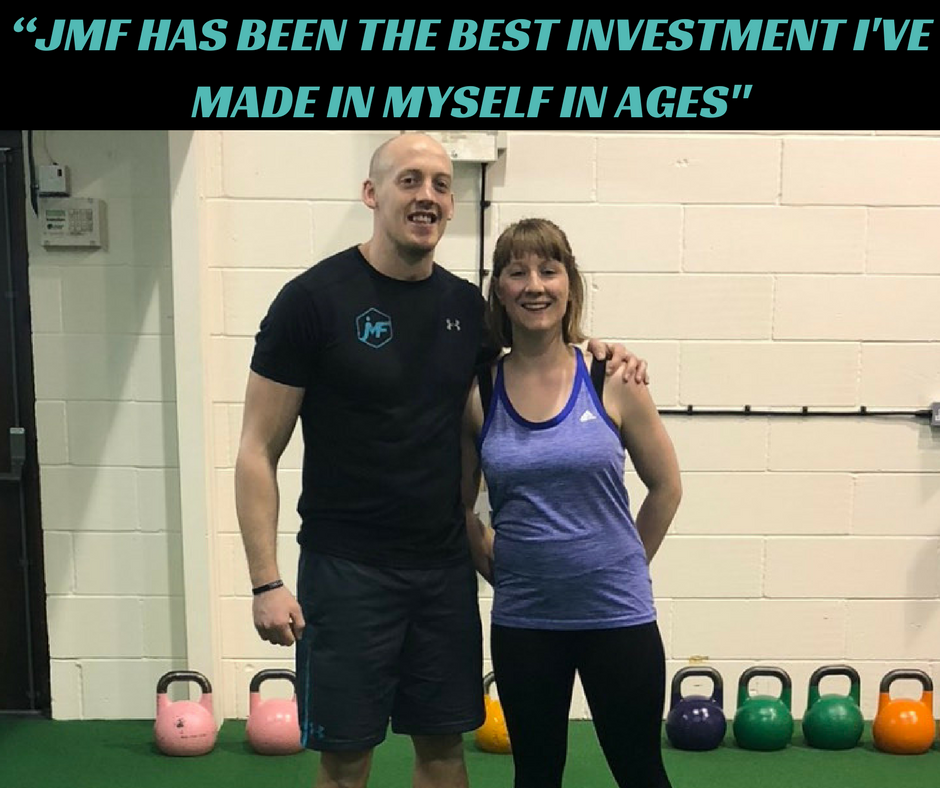 """Before joining JMF I'd been working on trying to lose some of the extra padding I'd gained after having my two children, but I felt like I'd just started to plateau and didn't know what to do next. I didn't feel as fit as I used to and felt permanently tired juggling my work with my family.  James was positive that I could achieve what I wanted around my busy schedule and after our first session and nutritional consult I did too.  8 months later and I feel fitter, stronger and more energised than I have in years. I love the sessions and can't imagine JMF not being part of my weekly routine.  I couldn't do a single press up when I started, now I can press up with my six-year-old on my back! I've deadlifted 90kg, squatted with well over my body weight and I'm getting closer to my first unassisted pull up. I've lost about 9lbs without feeling like I've had to deprive myself too much and I feel more toned than I have in years. I can't recommend JMF highly enough. There is always support and advice there when you want it but it never feels forced or over the top. Joining JMF has been the best investment in myself I have made in ages and I am a much happier healthier person now than I was six months ago."" - Penny Mills"