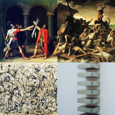 "Clockwise: David, ""Oath of the Horatii"" (1784); Gericault, ""The Raft of the Medusa"" (1819); Judd, ""Untitled"" (1969); Pollock, ""Autumn Rhythm"" (1950)"