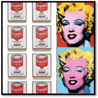 """Warhol, """"Campbell's Soup Cans""""; """"Marilyn Monroe"""" (1962)"""