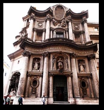 The facade of Borromini's San Carlo Alle Quattro Fontane (1646).