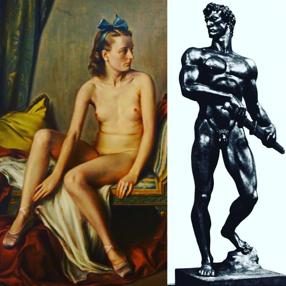 "(L) Adolf Ziegler (fun fact: the second hit after his name on Google is 'Hitler sycophant' and, before Google, simply the Fuhrer's favorite artist), ""Female Nude"" (1939); (R) Arno Brecker, ""Readiness"" (1939)"