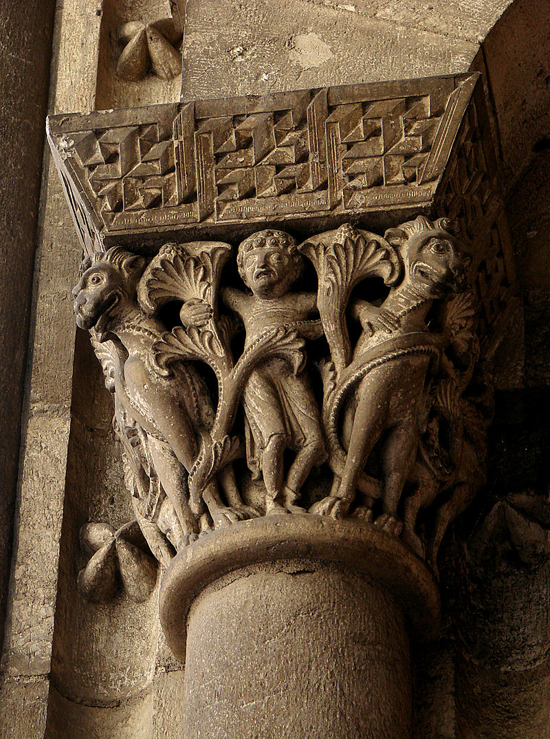 "Example of Romanesque ""expressive beauty"" from the capital of Cathedral Saint-Etienne (11th - 12th century)"