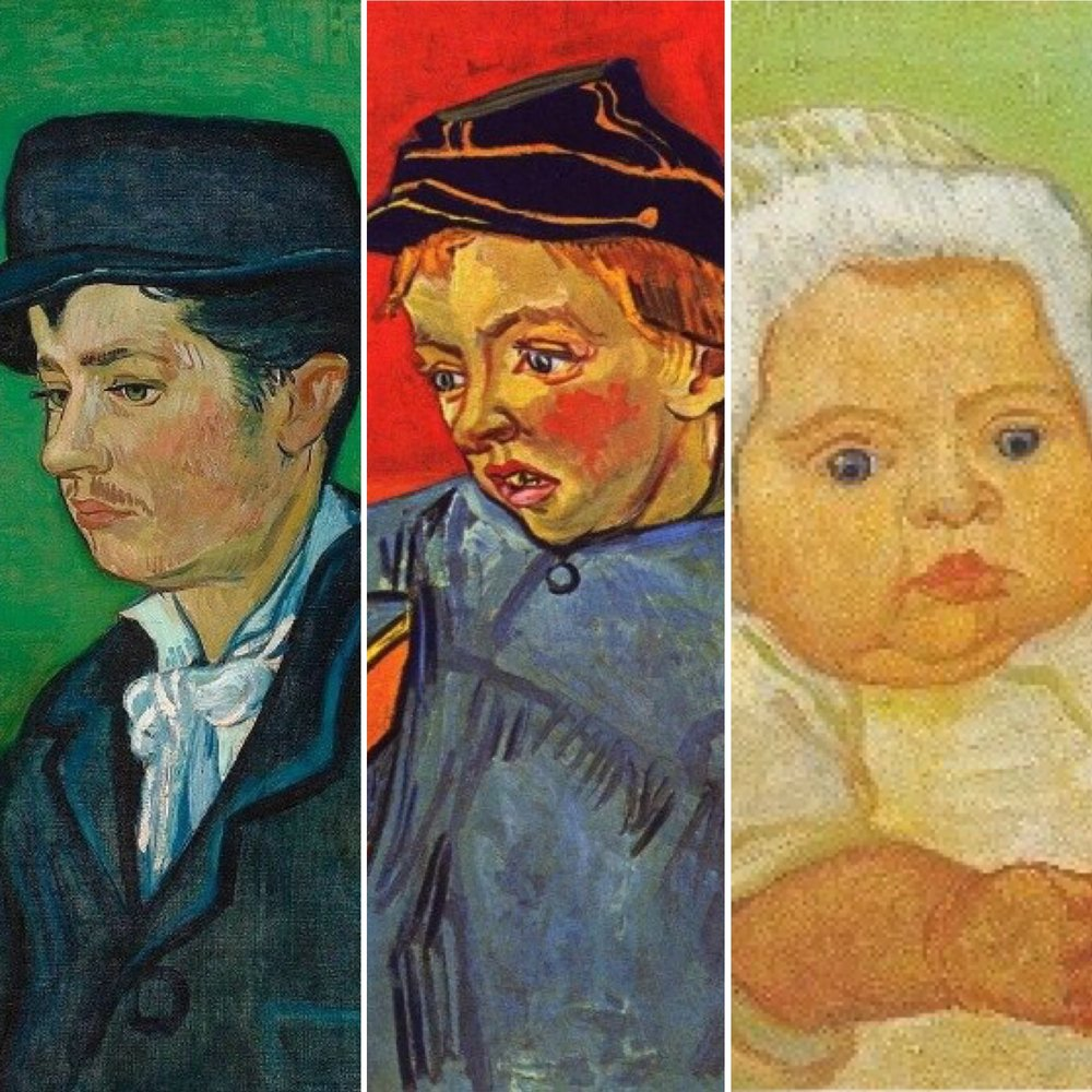 "Van Gogh, ""Armand Roulin"" (c. 1888); ""Camille"" (c. 1888); ""Portrait of Marcelle Roulin"" (1888)"