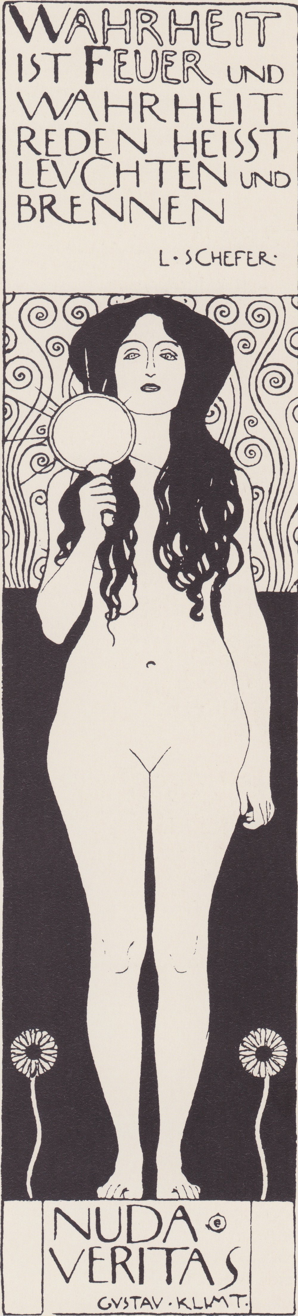 "Gustav Klimt, ""Nuda Veritas"" (1898)"