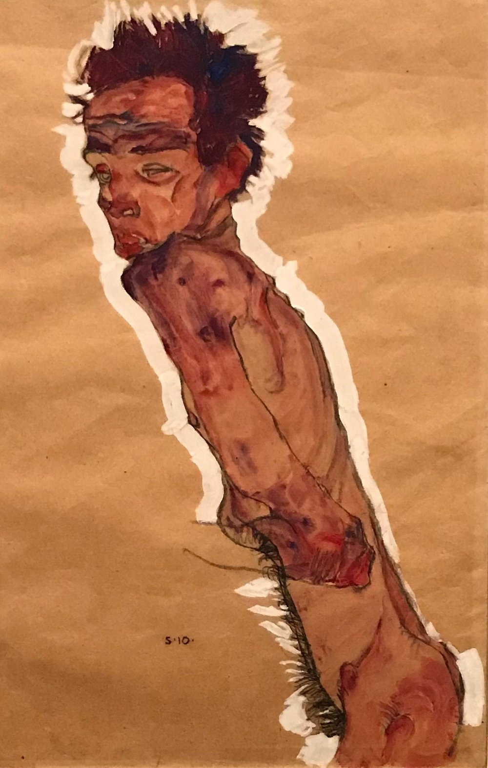 "Egon Schiele, ""Nude Self-Portait"" (1910)"