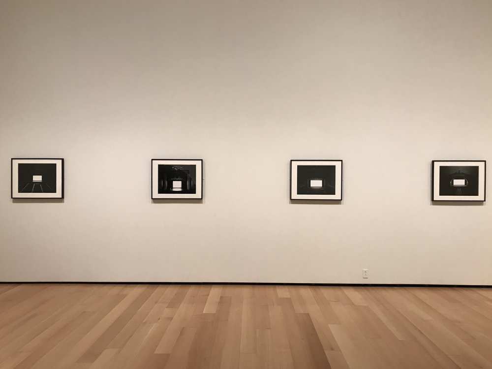 """Photograph of the Sugimotos on view in """"Seeking Stillness"""" at the Museum of Fine Arts, Boston.  Photo by Tamar."""