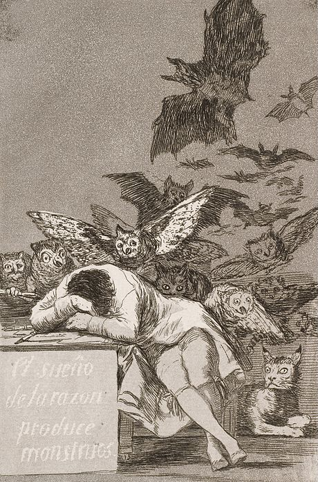 "Francisco José de Goya y Lucientes, ""The sleep of reason produces monsters"" (No. 43), from Los Caprichosn (c. 1797)"