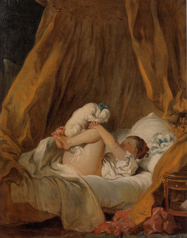 """Jean-Honore Fragonard, """"Young Girl Playing with Her Dog (La Gimbelette)"""" (c. 1768)"""