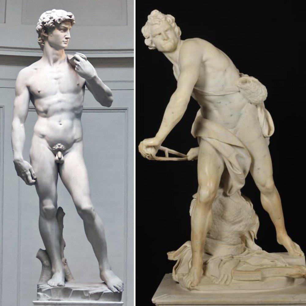 "(L) Michelangelo Buonarroti, ""David"" (1501-04); (R) Gian Lorenzo Bernini, ""David"" (1624)"