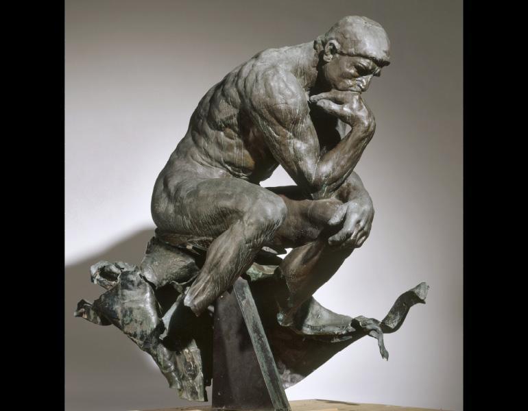 "Auguste Rodin, ""The Thinker"" (1880-81); vandalized 1970."