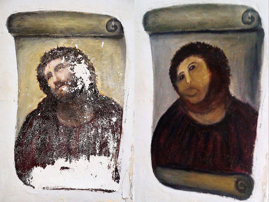 """Elías García Martínez, """"Ecce Homo (Behold the Man)"""" (c. 1930); Cecilia Giménez's attempted restoration (2012)"""