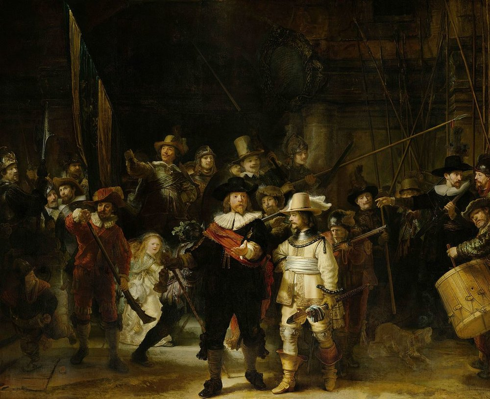 """Rembrandt van Rijn, """"Militia Company of District II under the Command of Captain Frans Banninck Cocq"""" (commonly known as """"The Night Watch"""") (1642)"""