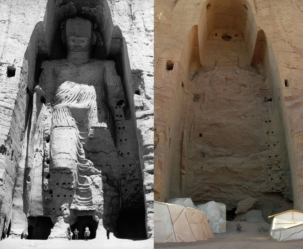 The Buddhas of Bamiyan, 6th-century monumental statues of Gautam Buddha carved into the side of a cliff in the Bamyan valley in the Hazarajat region of central Afghanistan
