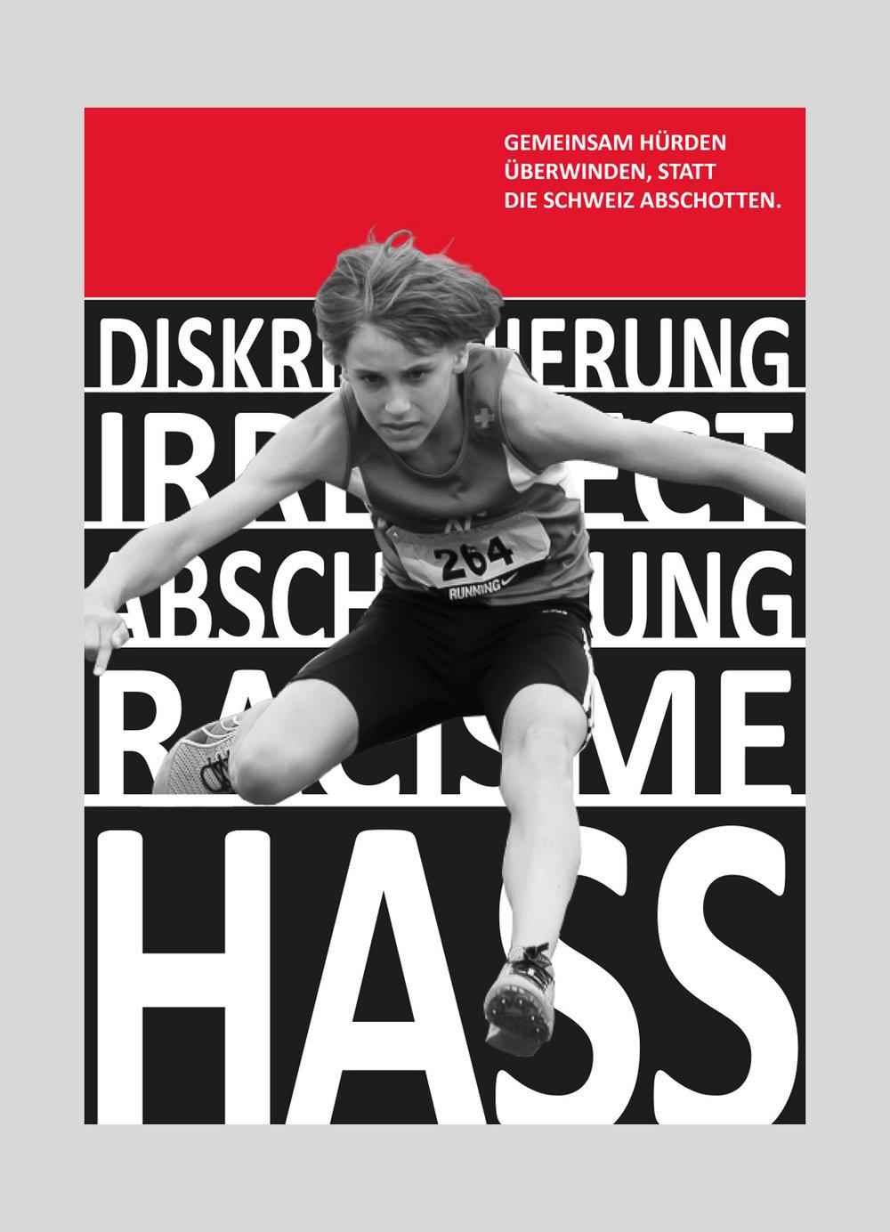 Jugendkomitee – Hürden überwinden | 2016  Aktion «Barrieren überwinden», zum zweiten Jahrestag der Annahme der «Masseneinwanderungsinitiative».