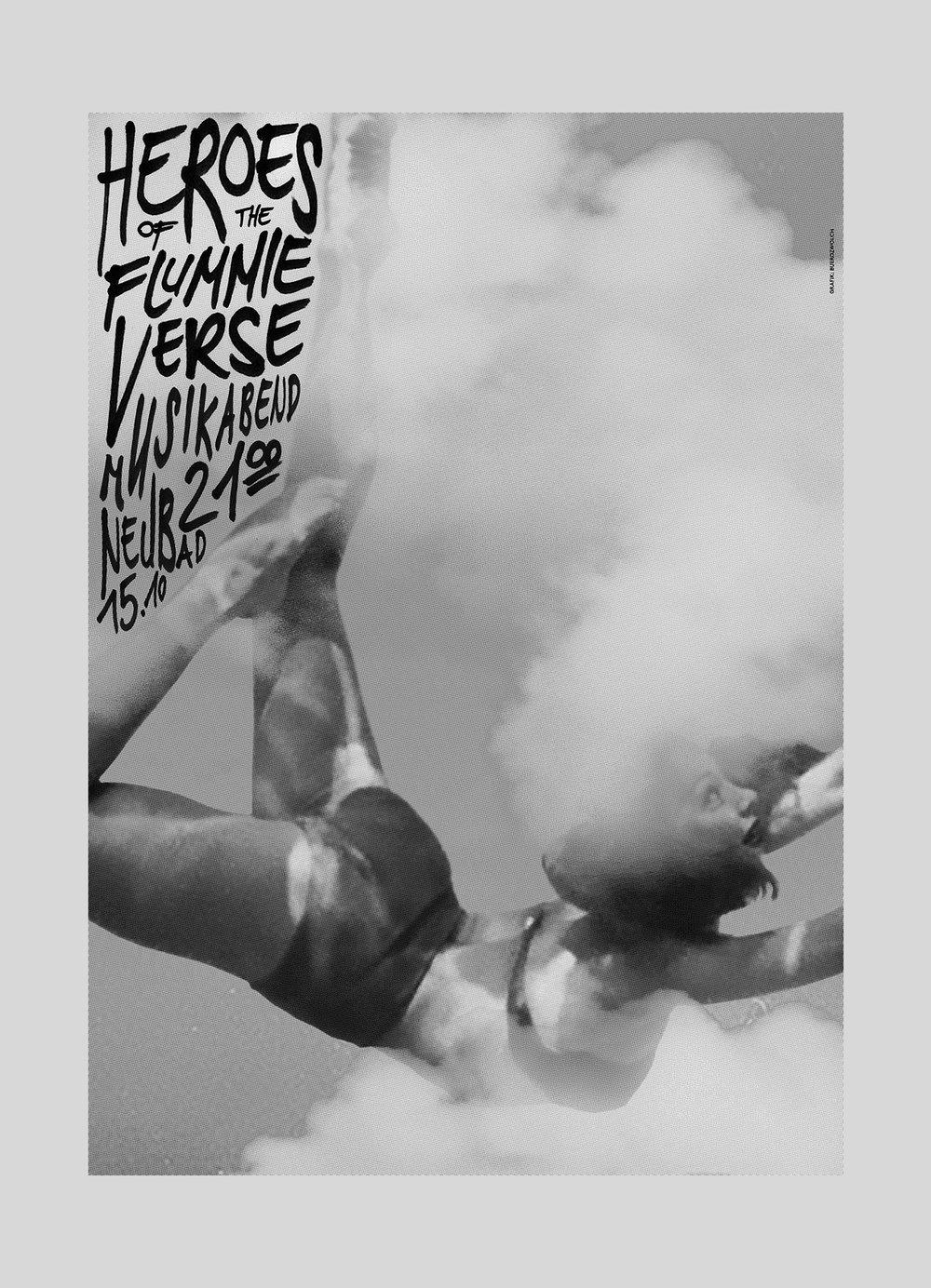 Neubad – heroes of the Flummieverse 2 | Plakatserie 2016  Veranstaltungsreihe von Musikabenden.