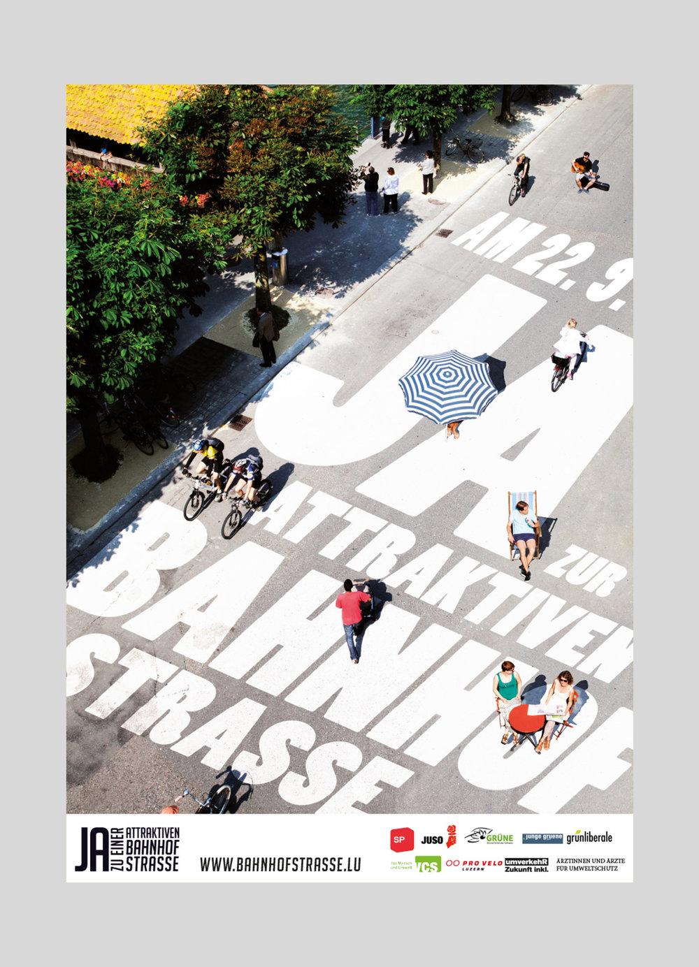 SP Stadt Luzern – Attraktive Bahnhofstrasse  | 2013  Volksinitiative der SP Stadt Luzern für eine attraktive und wenn möglich autofreie Bahnhofstrasse.