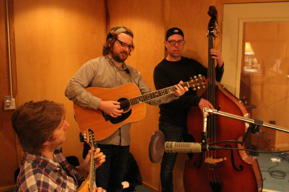 John Beck (Mandolin), Adam Dalton (Guitar) & Dean Marold (Upright Bass) recording at Petti Sound in Nashville, TN.