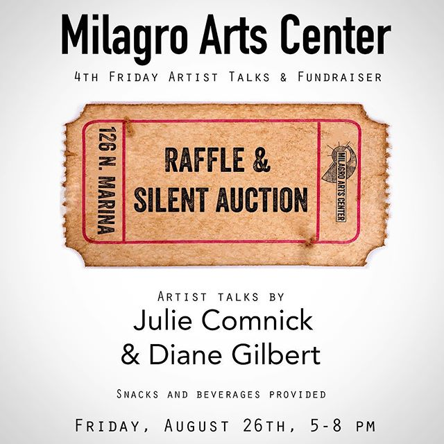 4th Friday Artist Talks and Fundraiser!! Come see newly installed art work, hear talks from Julie and Diane, and support Milagro through our raffle and silent auction! Did we mention there will be snacks and beverages? #art #artscenter #fundraiser #raffle #artist #4thfriday