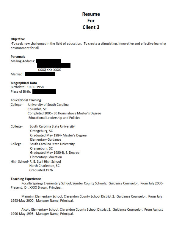 Education Original Resume