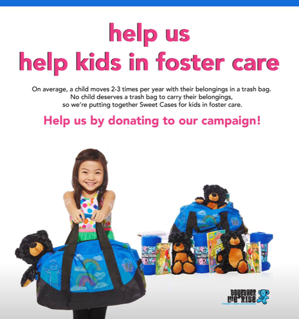Please join us in creating Sweet Cases filled with comfort items for 40 children in foster care this Holiday Season!