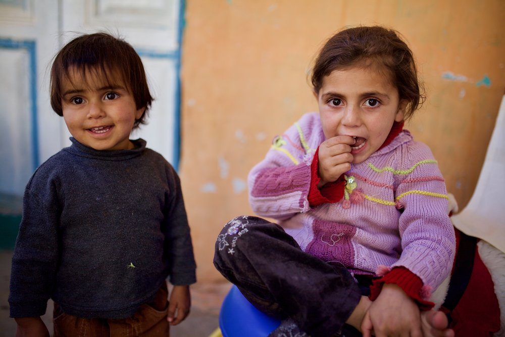 Syrian refugee children in Shebaa, Lebanon.