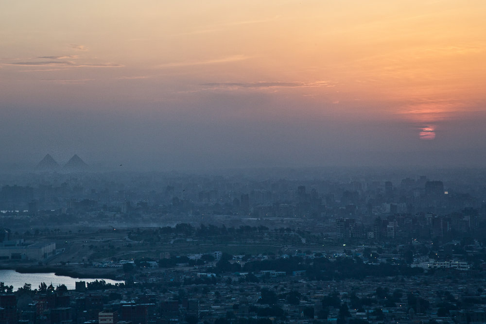 A view of Cairo, Egypt, from the Muqattam cliffs.
