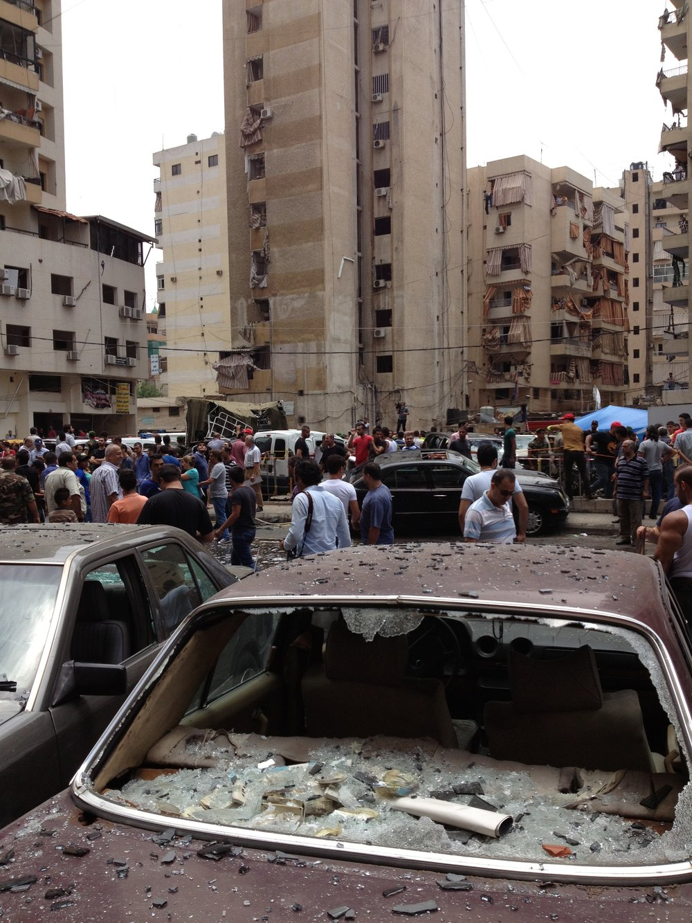 The immediate aftermath of a car bombing in Beirut, Lebanon.