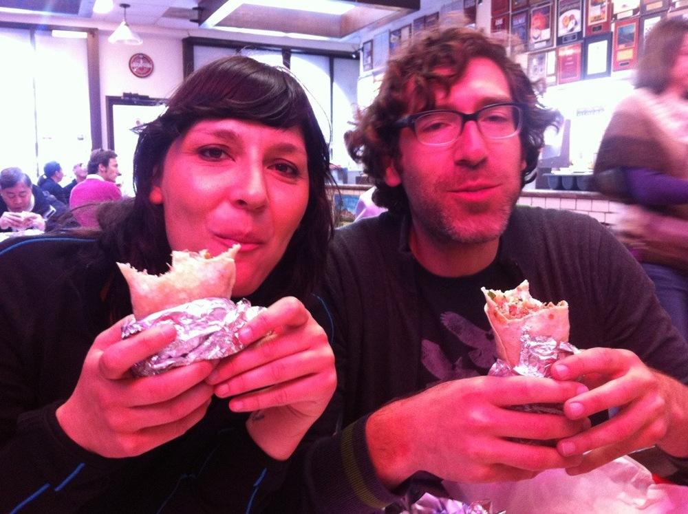 My sis and I grabbing one last burrito