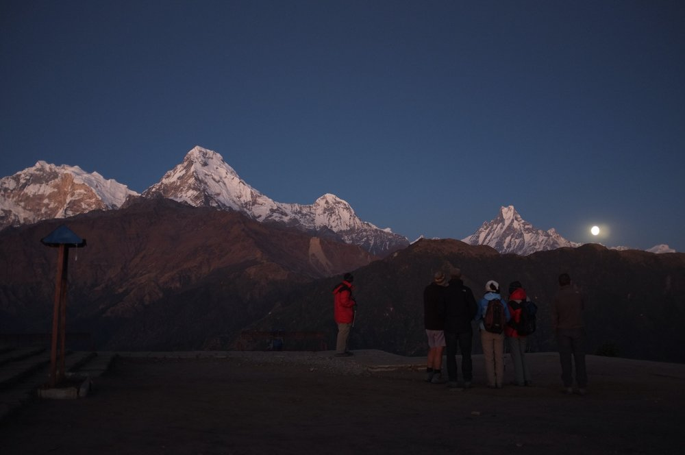 Moonrise from Poon Hill on the Annapurna Circuit, Nepal.  ||  📷 Ryan Moore