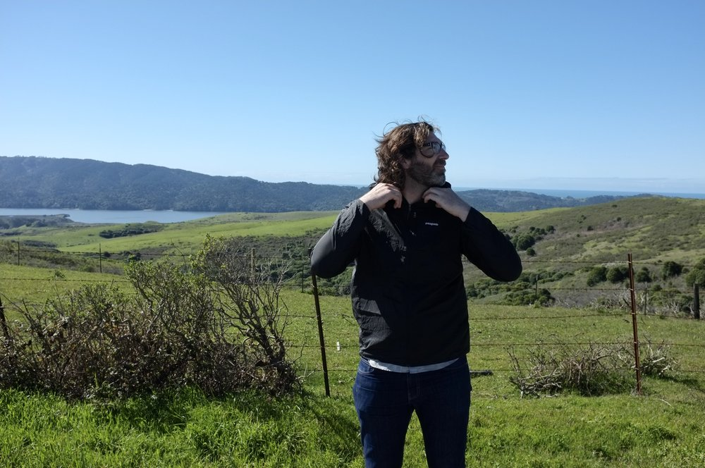 Me and my Patagonia Houdini with Tomales Bay, CA in the backgroud