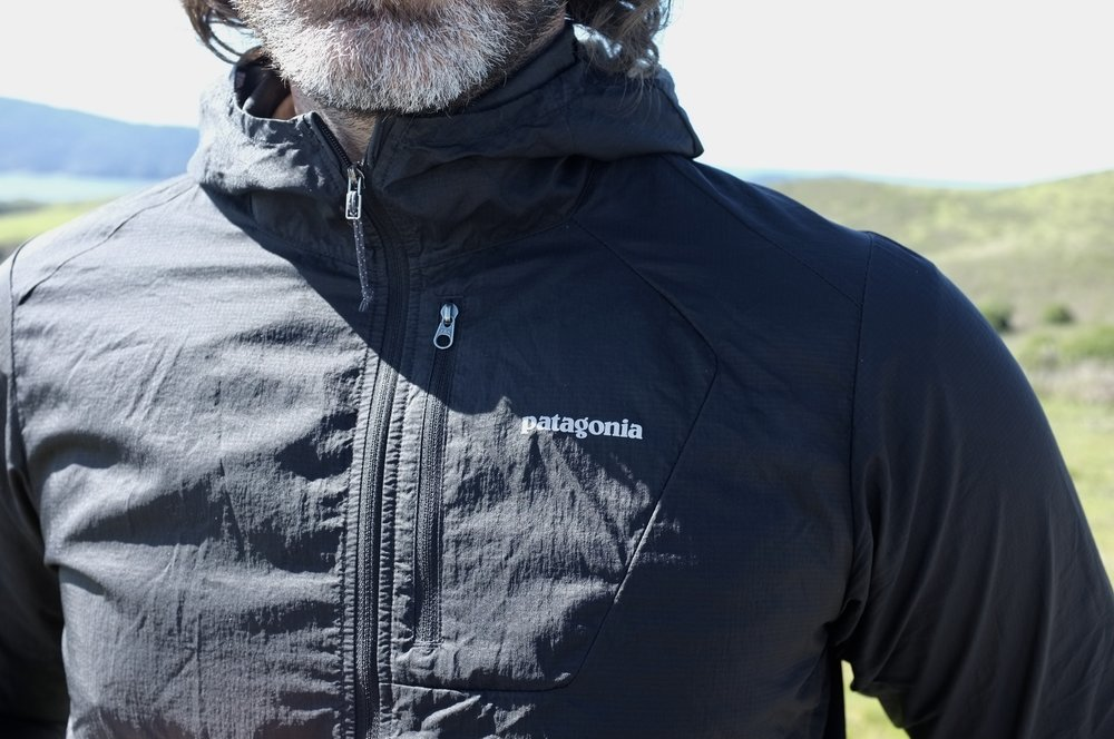 Patagonia Houdini Jacket and my greying beard.