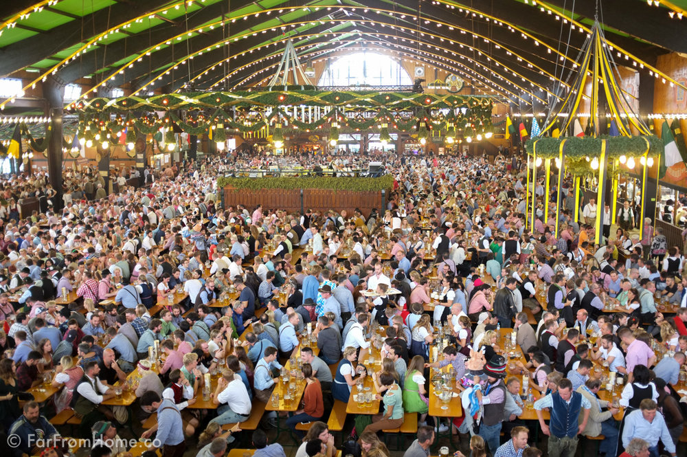 Inside the Augustiner tent, one of fourteen massive tents to choose from at Oktoberfest.