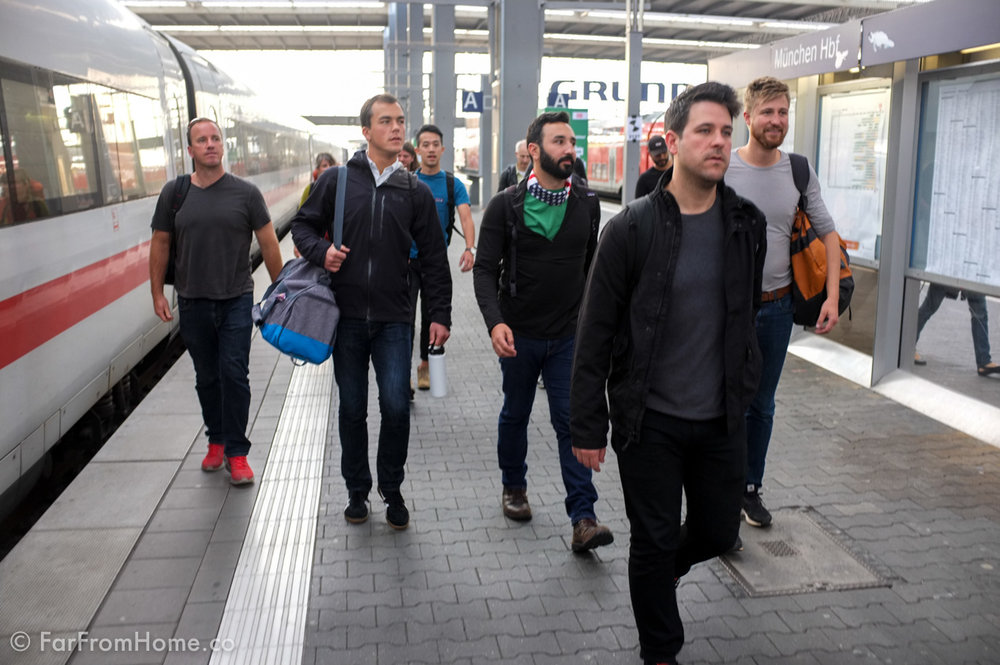 Our crew looking a bit serious (or is that jetlagged) as we depart the train in Munich.