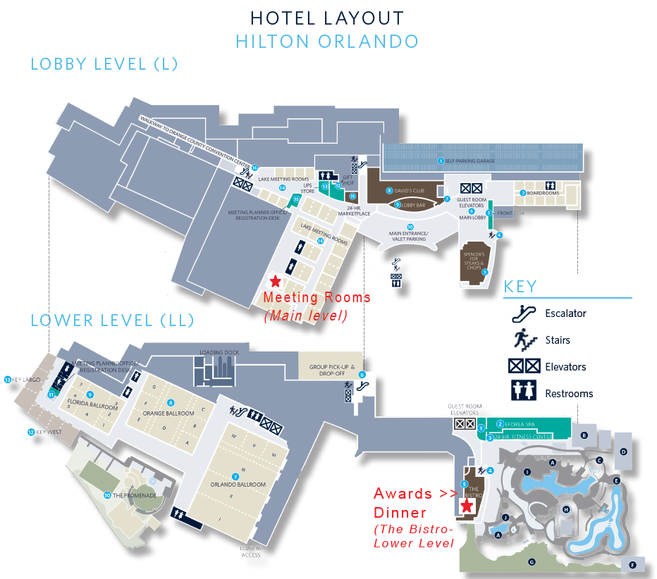 Click here  for the full Hilton Orlando site map