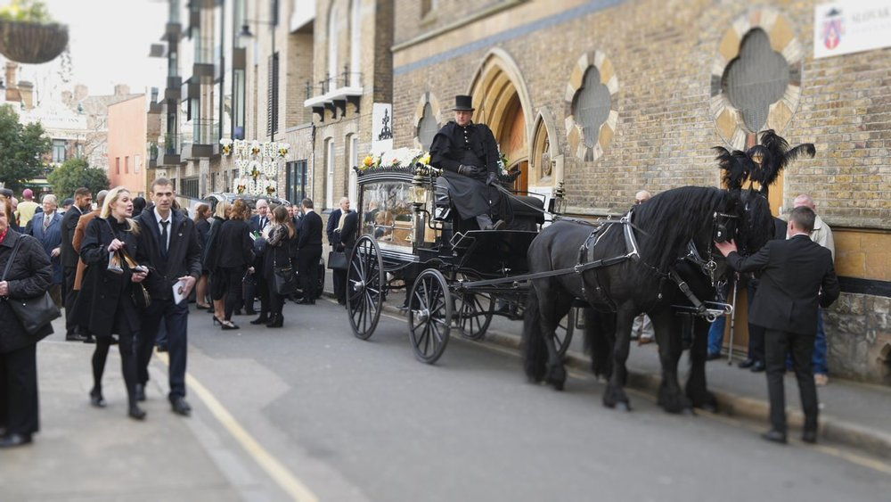 Horse and Carriage Arriving at Our Lady of La Salette Church, London (Funeral Filming Video Grab)