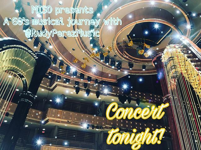 @miamisymphony 60's concert with @rudyperezmusic 🎶👩🏻‍🎤tonight at the @arshtcenter at 6pm 🎤 #orchestra #miso #60smusic #salviharpsofficial #viewfromtheharp #livemusic #miamimusic #miami