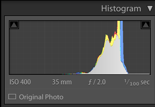 Most of the pixels can be found on the right side of my histogram. If I were to print this, there would be no clipping, because there are no pixels on the far right touching the side of the histogram.