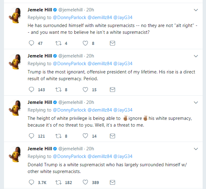 ESPN Sports Host Jemele Hill Suspended After Calling Trump a White Supremacist (October 2017) - Link to Tweets Picture: http://i63.tinypic.com/ic68nr.png Article Link w/ More Information: https://www.nytimes.com/2017/10/09/sports/football/jemele-hill-suspended-espn.html